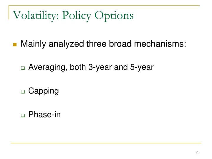 Volatility: Policy Options