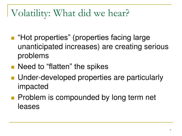 Volatility: What did we hear?