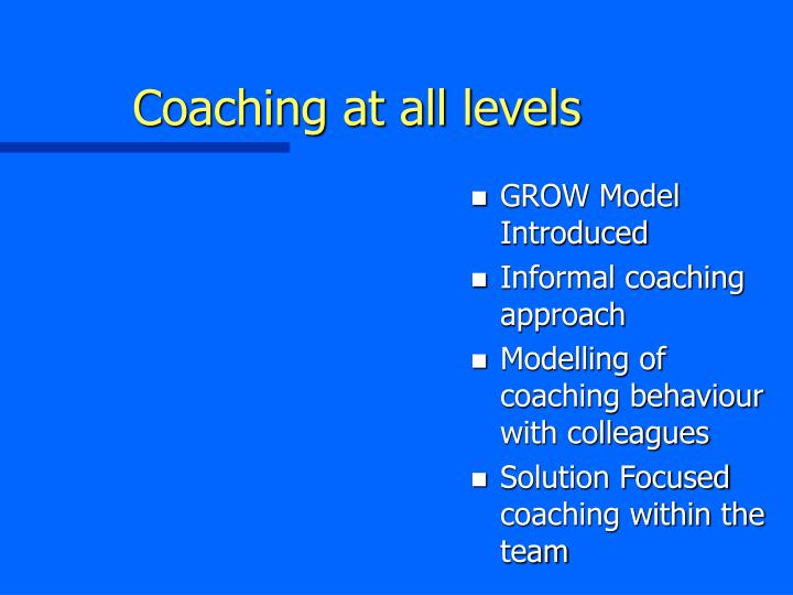 Coaching at all levels