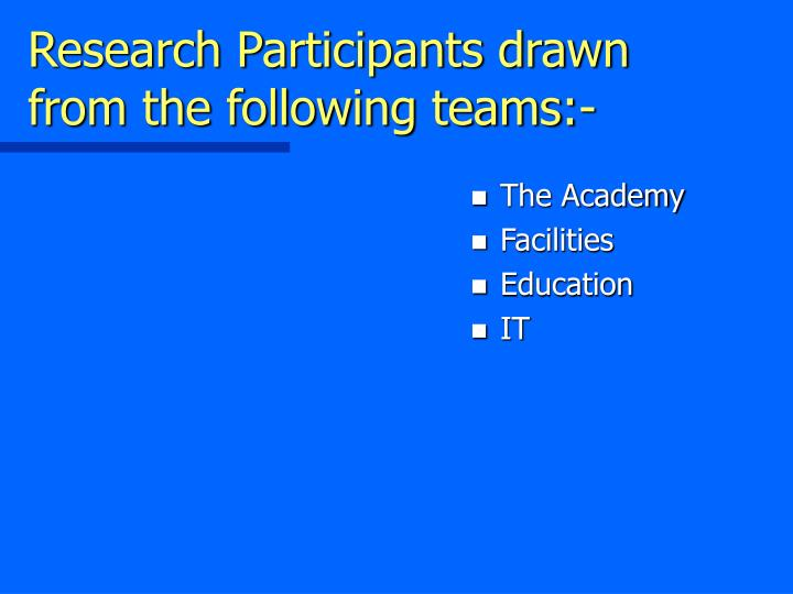 Research Participants drawn from the following teams:-