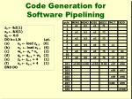 code generation for software pipelining