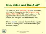 ld c chk a and the alat