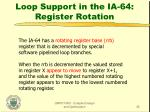loop support in the ia 64 register rotation