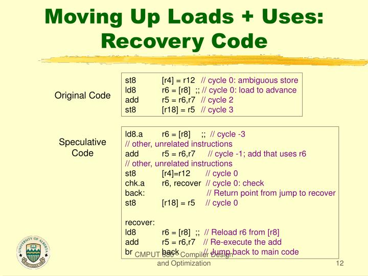 Moving Up Loads + Uses: Recovery Code