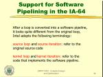 support for software pipelining in the ia 64