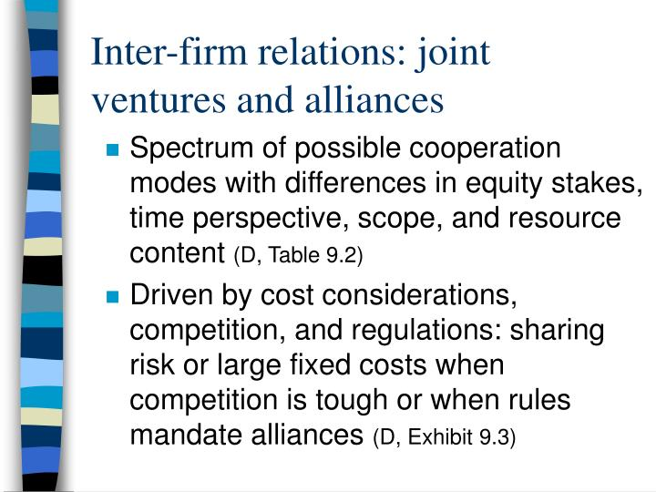 Inter-firm relations: joint ventures and alliances