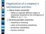 organization of a company s international activities