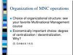 organization of mnc operations