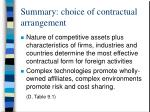 summary choice of contractual arrangement