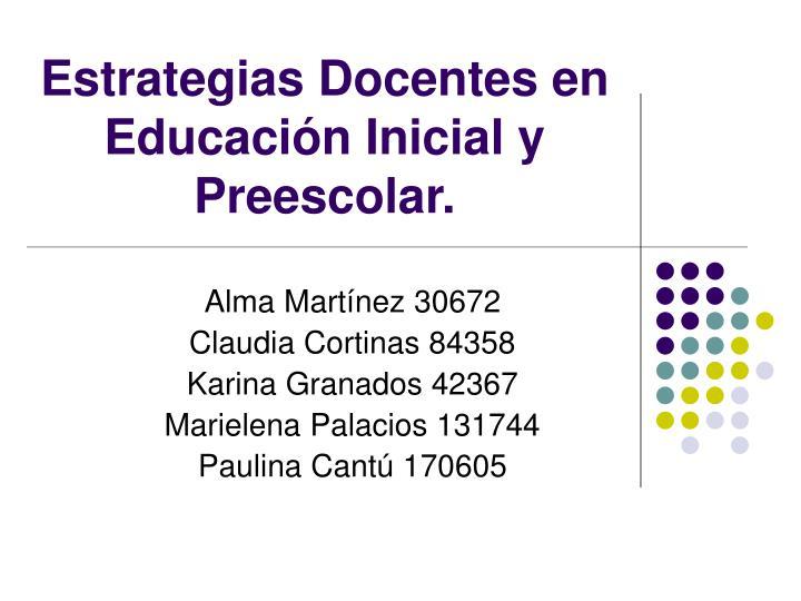Estrategias Docentes en Educación Inicial y Preescolar.
