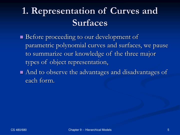 1. Representation of Curves and Surfaces