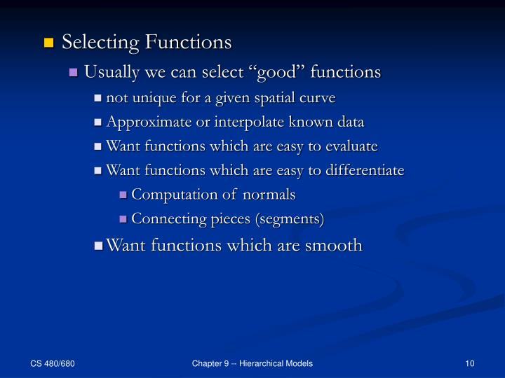 Selecting Functions