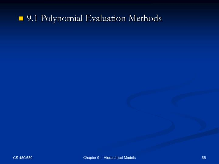 9.1 Polynomial Evaluation Methods