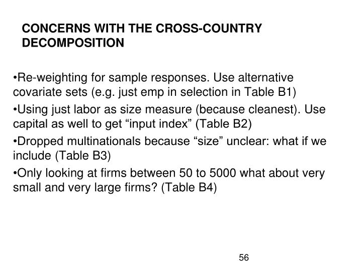 CONCERNS WITH THE CROSS-COUNTRY DECOMPOSITION