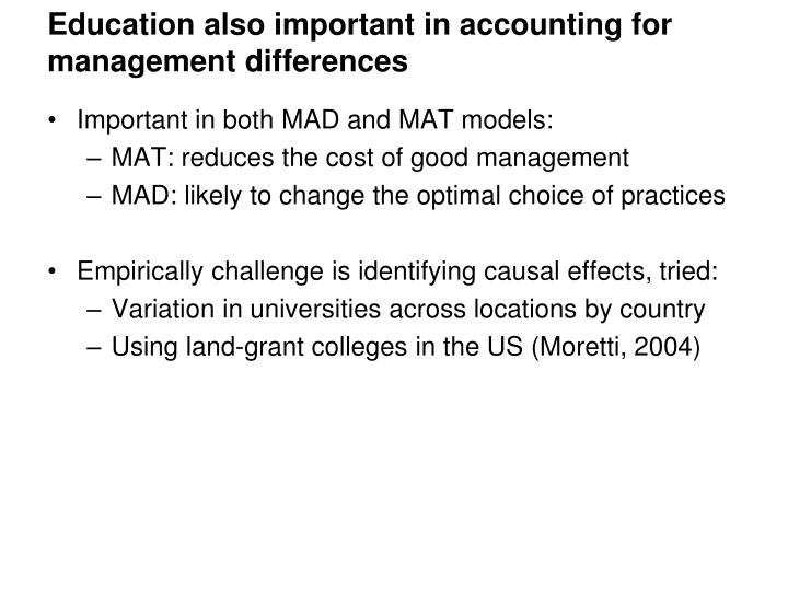 Education also important in accounting for management differences