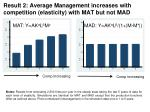result 2 average management increases with competition elasticity with mat but not mad