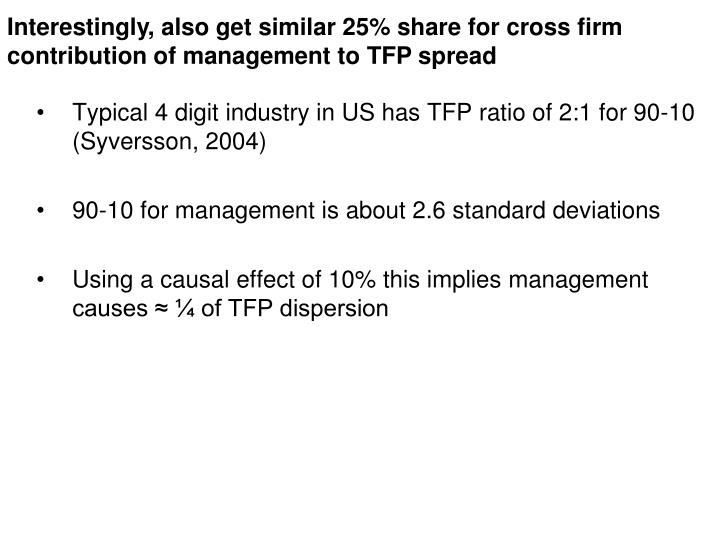 Interestingly, also get similar 25% share for cross firm contribution of management to TFP spread