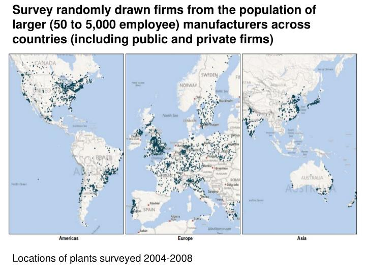 Survey randomly drawn firms from the population of larger (50 to 5,000 employee) manufacturers across countries (including public and private firms)