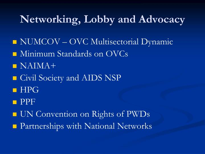 Networking, Lobby and Advocacy