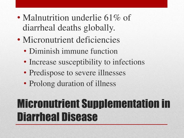 Malnutrition underlie 61% of diarrheal deaths globally.