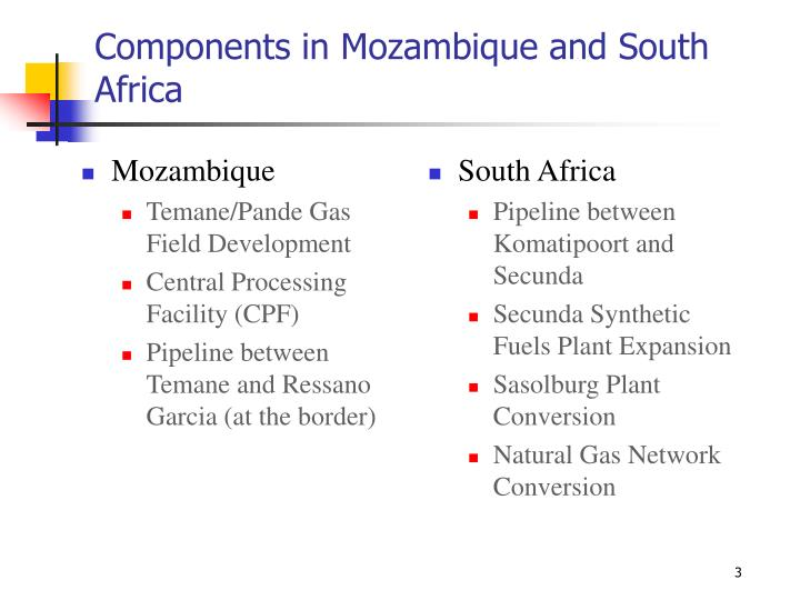 Components in mozambique and south africa