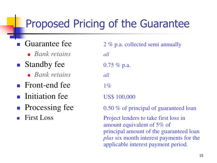 Proposed Pricing of the Guarantee