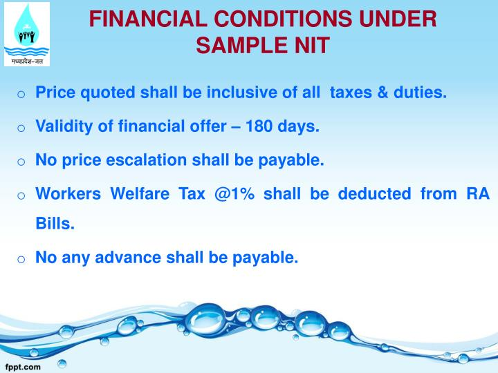 FINANCIAL CONDITIONS UNDER SAMPLE NIT