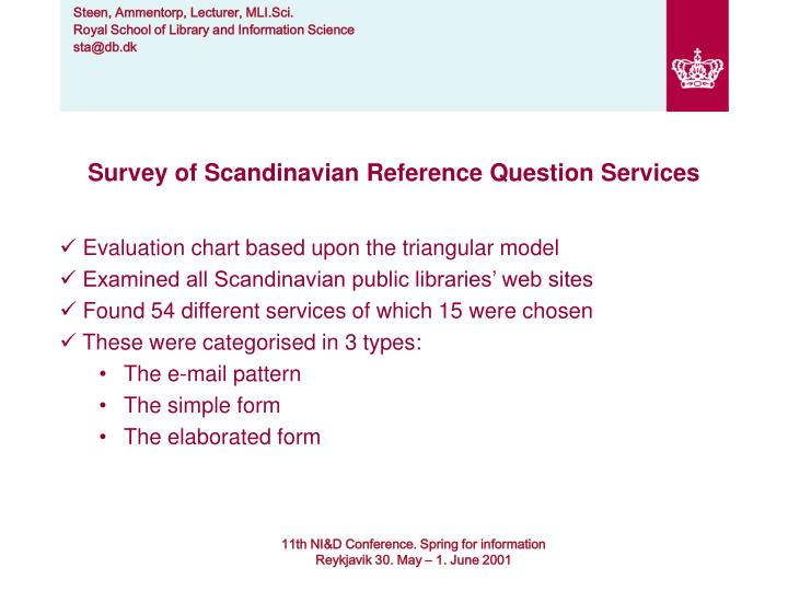 Survey of Scandinavian Reference Question Services