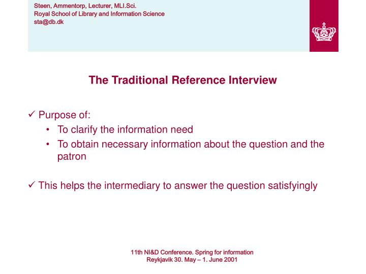 The Traditional Reference Interview