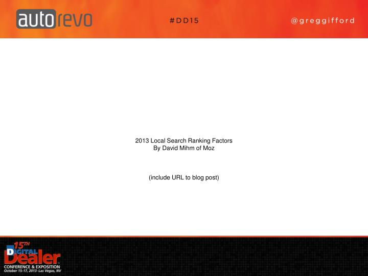 2013 Local Search Ranking Factors