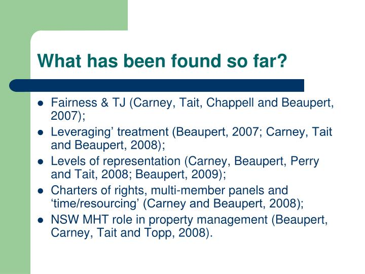 What has been found so far?