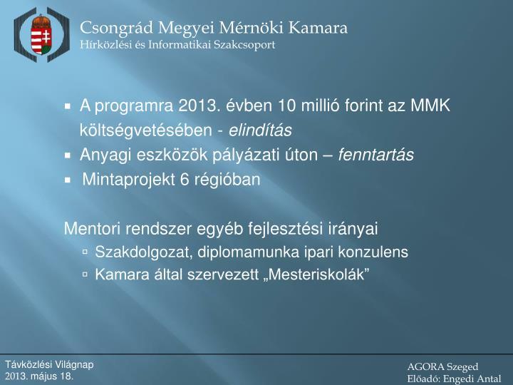 A programra 2013. évben 10 millió forint az MMK