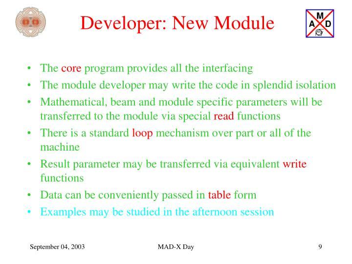 Developer: New Module