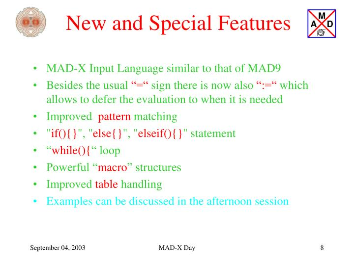 New and Special Features