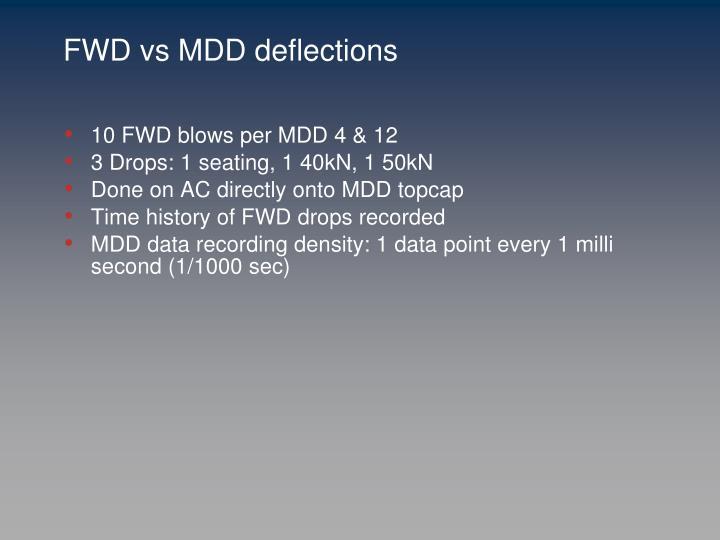 FWD vs MDD deflections