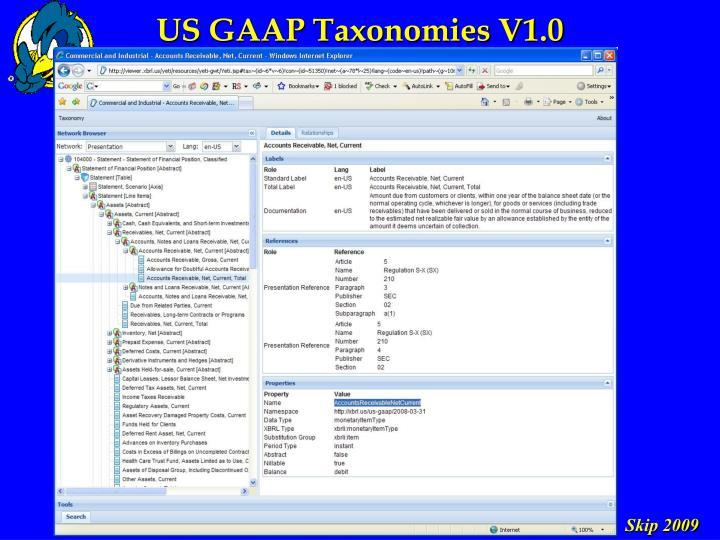US GAAP Taxonomies V1.0