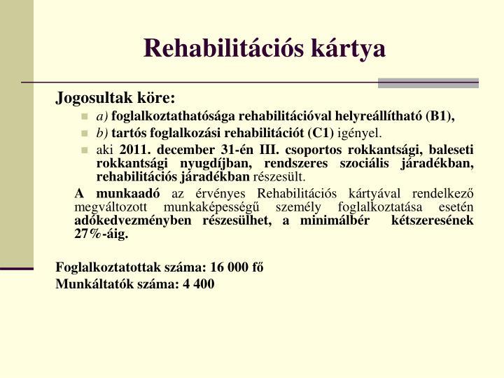 Rehabilitációs kártya