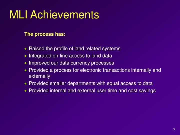 MLI Achievements