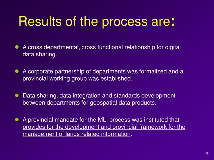 Results of the process are