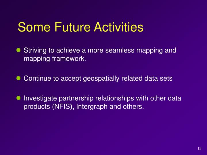 Some Future Activities