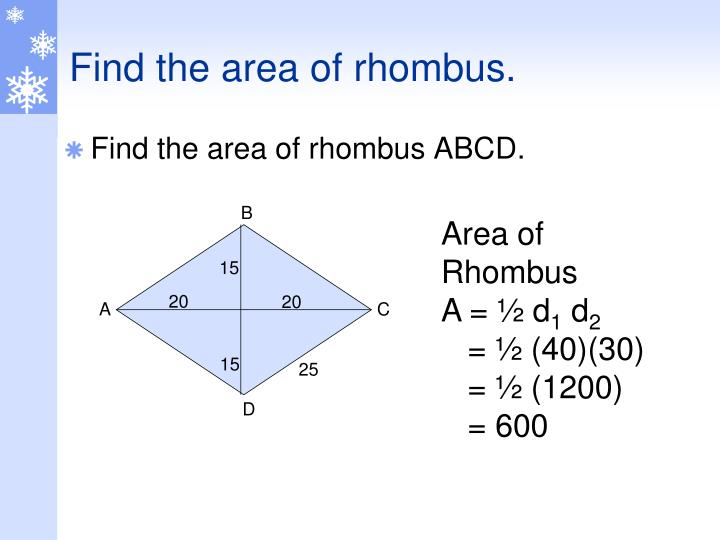 Find the area of rhombus.