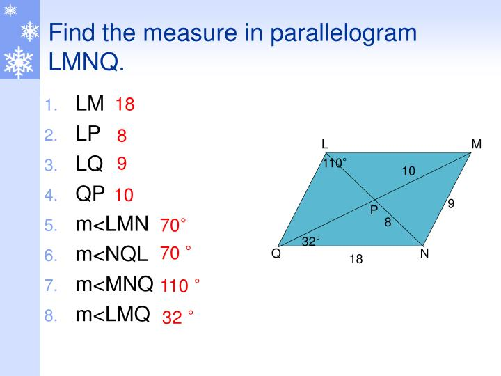 Find the measure in parallelogram LMNQ.