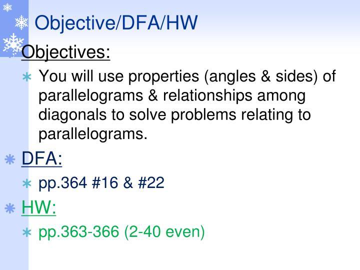 Objective/DFA/HW