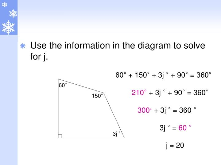 Use the information in the diagram to solve for j.