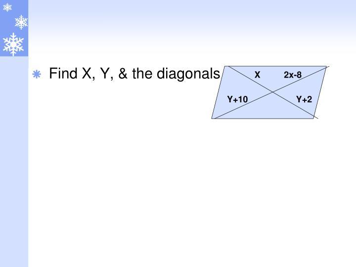Find X, Y, & the diagonals