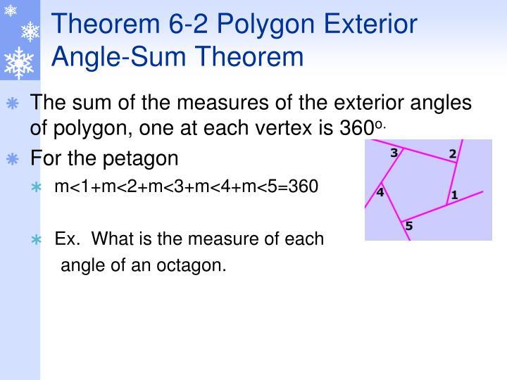 Theorem 6-2 Polygon Exterior Angle-Sum Theorem