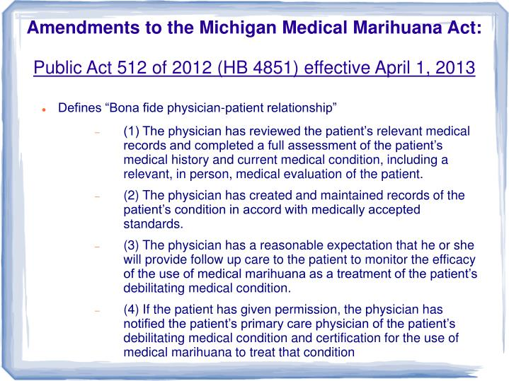 Amendments to the Michigan Medical Marihuana Act: