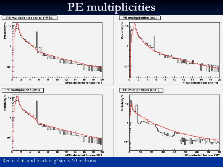 PE multiplicities
