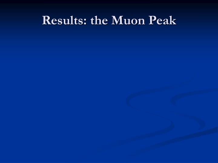 Results: the Muon Peak