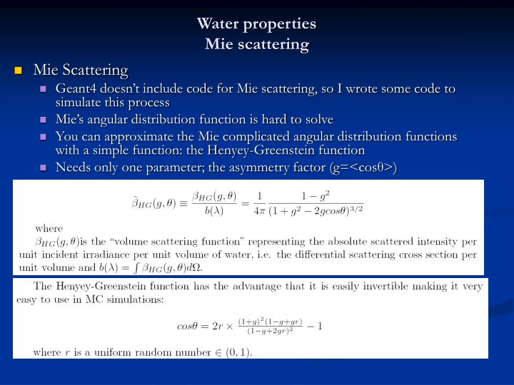 Water properties
